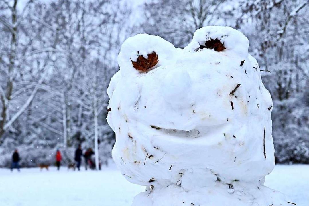 Dieser Schneefrosch stand Anfang des Jahres in Oberried.  | Foto: Philipp von Ditfurth (dpa)