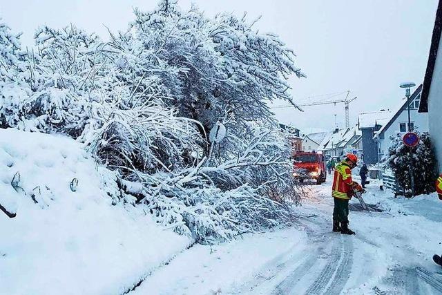 Nach dem heftigen Schneefall haben Bauhof und Feuerwehr in Gundelfingen viel zu tun