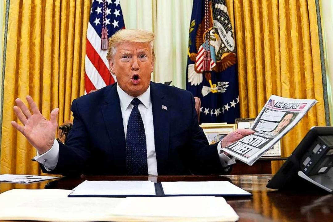In wenigen Tagen muss Donald Trump das...rfte noch lange in Erinnerung bleiben.  | Foto: Evan Vucci (dpa)