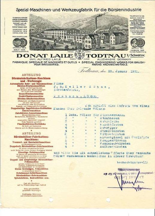 "So groß war die ""Spezial-Maschin...dustrie"" der Familie Laile 1931.  | Foto: Archiv Benno Dörflinger"