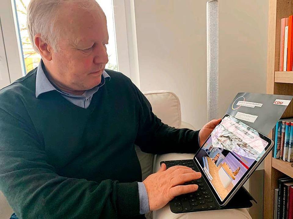 MdB Peter Weiß bei  der digitalen Abstimmung über den neuen CDU-Vorsitzenden    Foto: Büro Peter Weiß
