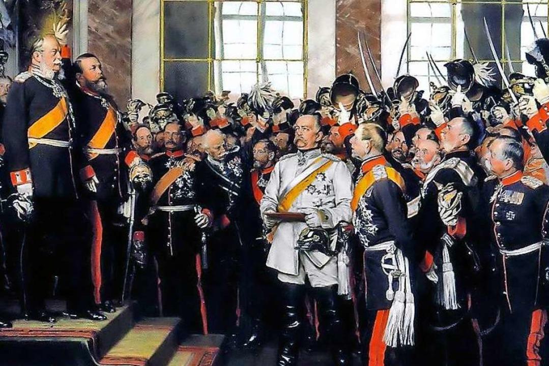 Wilhelm I. wird zum deutschen Kaiser a...m ist Otto von Bismarck hervorgehoben.  | Foto: Mussen Nord / Bismarck Museum