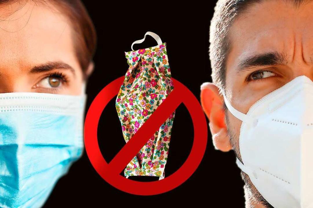 Sowohl der einfache Mund-Nasen-Schutz ...rechts) gelten als medizinische Masken  | Foto: Lubo Ivanko, zigres, Janna (stock.adobe.com) / Montage: Dresemann