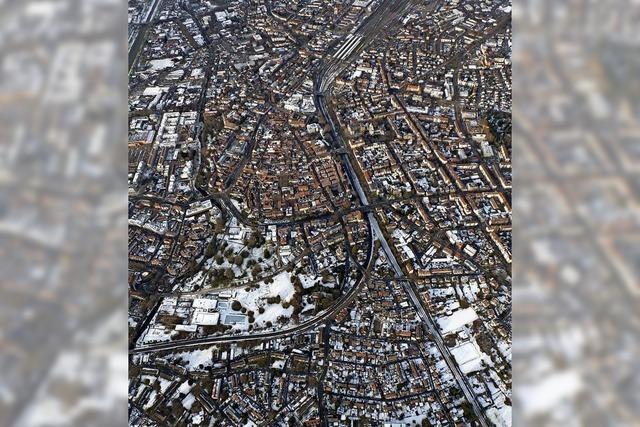 Winterliches Offenburg aus der Segelflieger-Perspektive