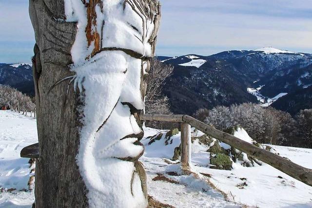 Die Traumzeit-Skulptur auf dem Schauinsland ist im Winter besonders sehenswert