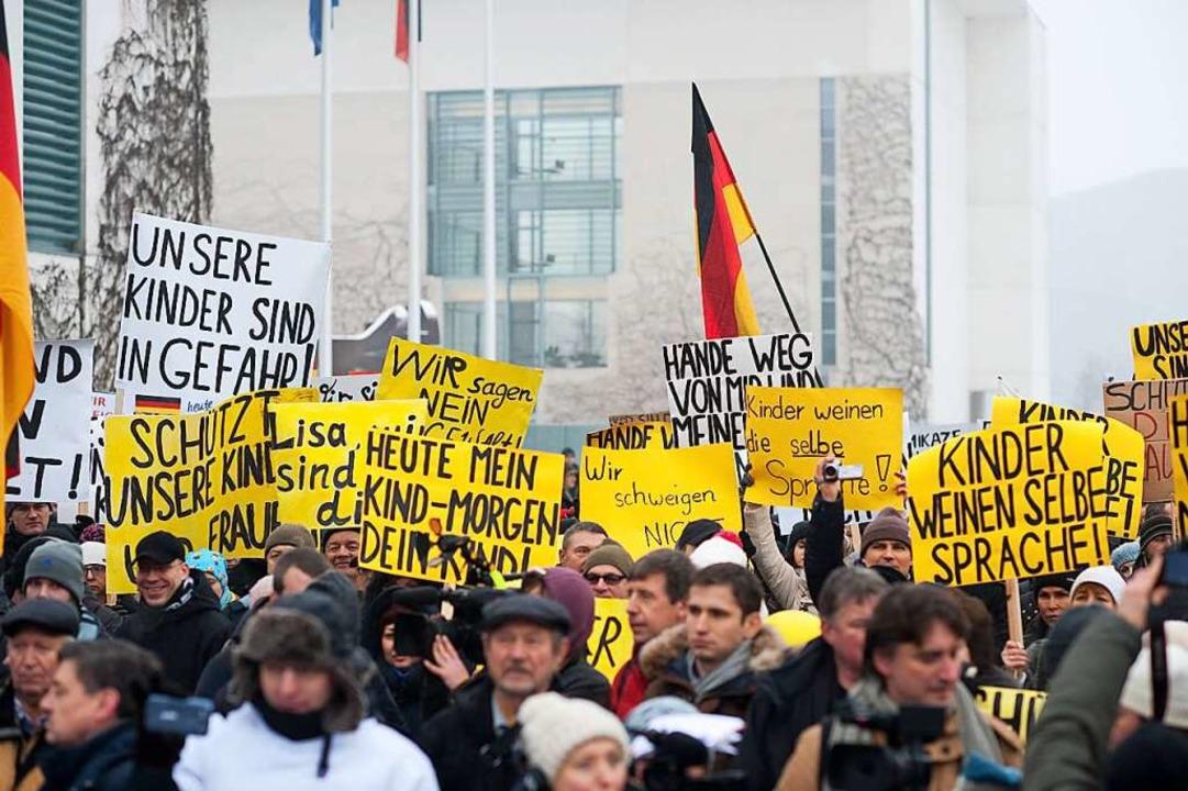 In Berlin demonstrierten Spätaussiedler ebenfalls.  | Foto: Klaus-Dietmar Gabbert