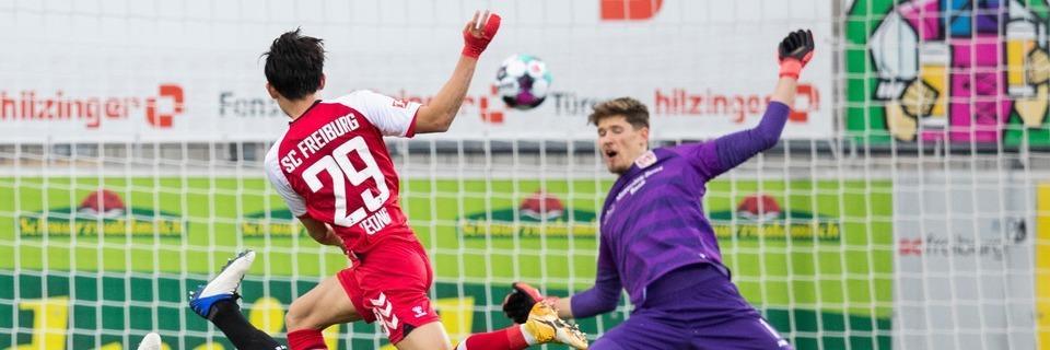 Torwart Florian Müller rettet dem SC den Derbysieg mit Elfmeterparade