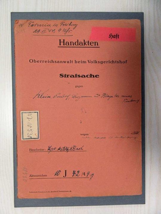 Die Akte Friedrich Klein  | Foto: Bundesarchiv