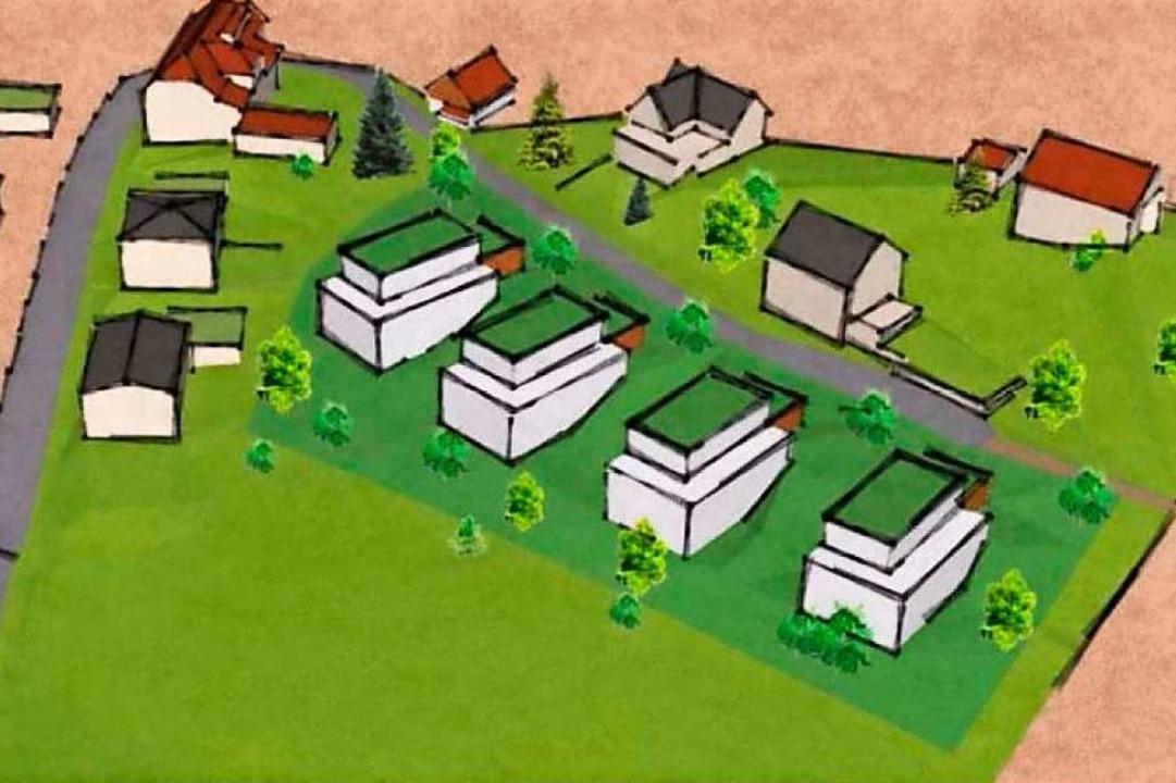 Enningen II: Eine Skizze zeigt die Lage der vier geplanten neuen Häuser.  | Foto: privat