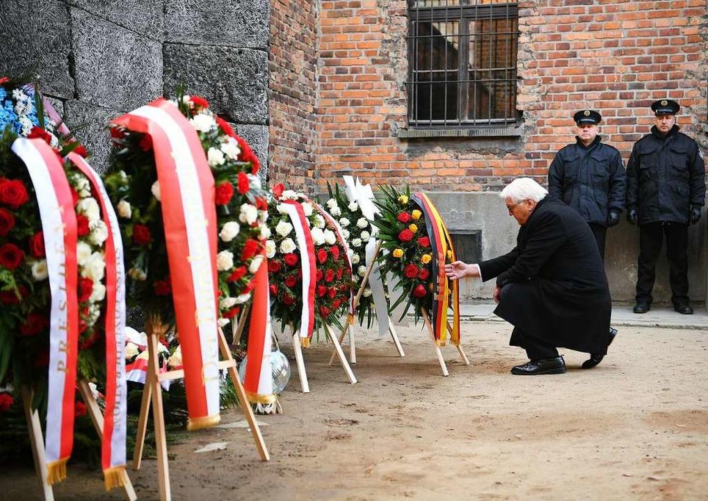 Im vergangenen Jahr legte Bundespräsid...onslager Auschwitz einen Kranz nieder.  | Foto: Britta Pedersen (dpa)
