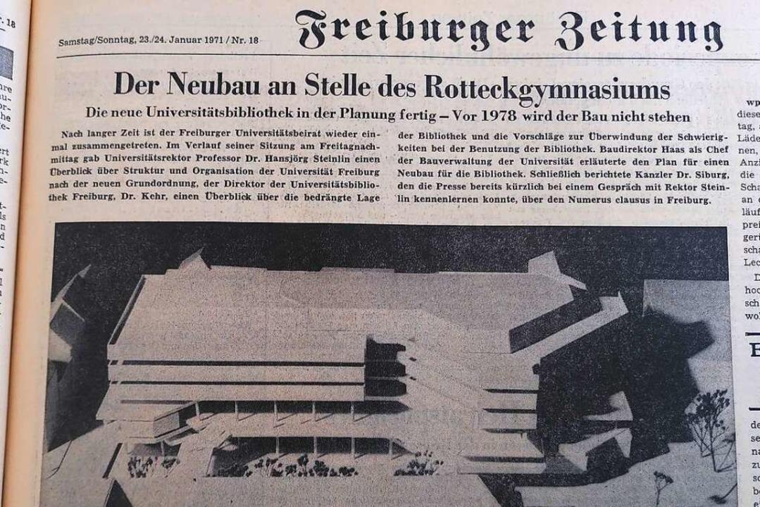 Damals noch Zukunftsmusik, inzwischen ...iothek in der BZ von Ende Januar 1971.  | Foto: Moritz Neufeld