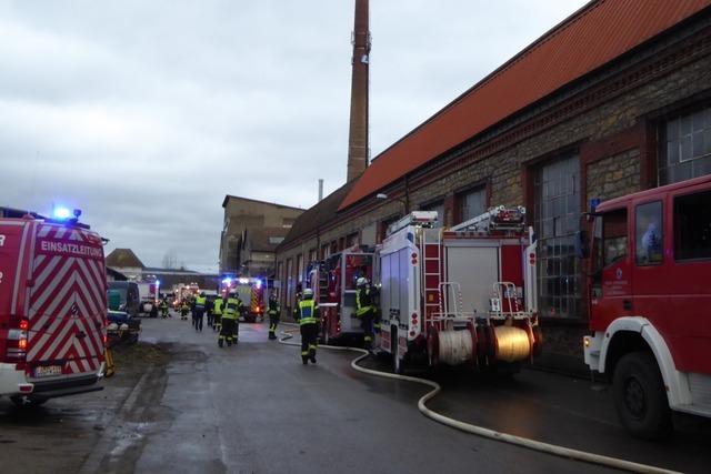 Trafo brennt auf dem Lauffenmühle-Areal in Lörrach