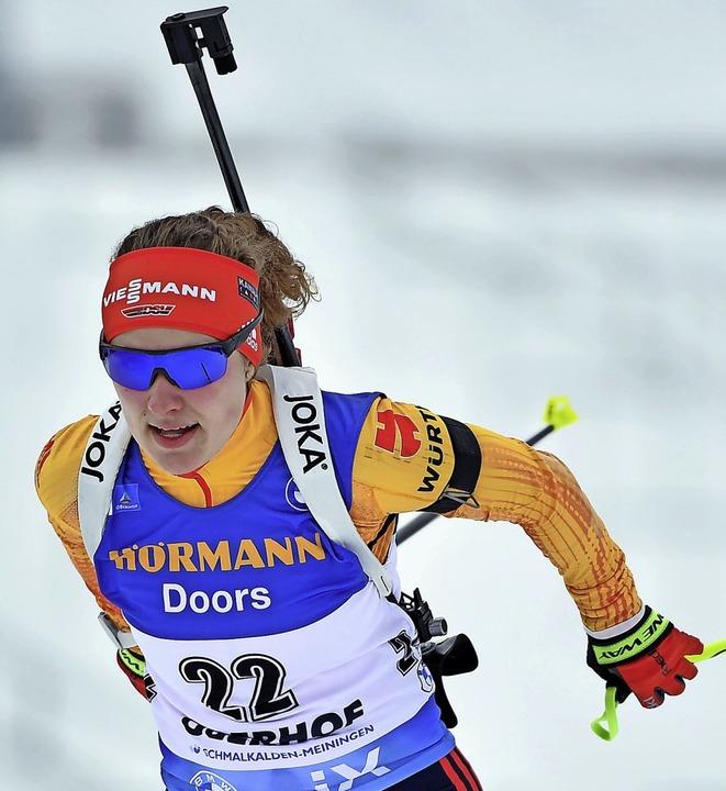 Läuferisch hat sich Biathletin Janina ...önwald startet, ebenfalls verbessert.   | Foto: Martin Schutt (dpa)