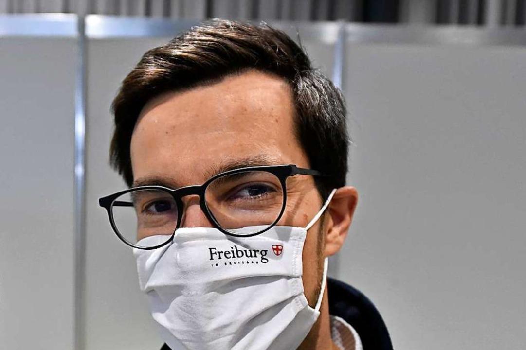 Der Freiburger Oberbürgermeister Marti...g der Pflicht zu medizinischen Masken)  | Foto: Thomas Kunz