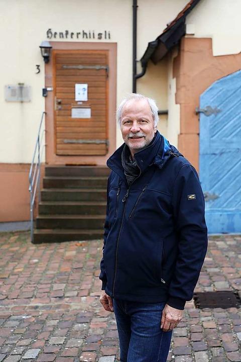 Vereinsrepräsentant Jürgen Kattinger v...tsstelle des TV Lahr  im Henkerhiisli.    Foto: Christoph Breithaupt