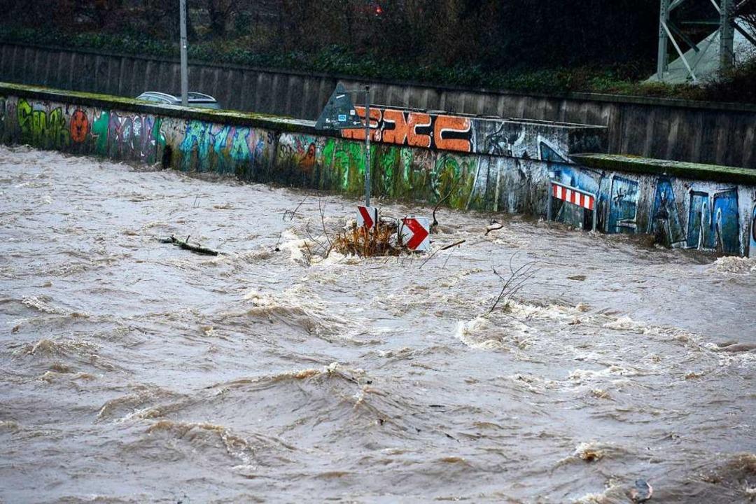 Der Uferradweg ist komplett überschwemmt.  | Foto: Ingo Schneider