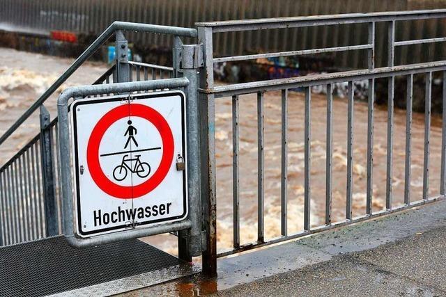 Radfahrer steckt in Dreisam-Hochwasser fest – und befreit sich selbst