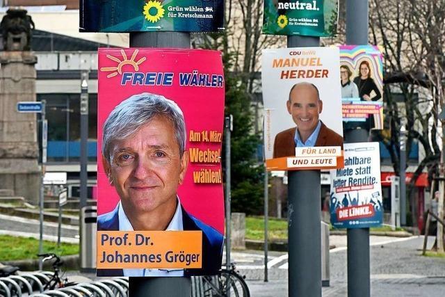 Jetzt fällt der Wahlkampf in Freiburg richtig ins Auge