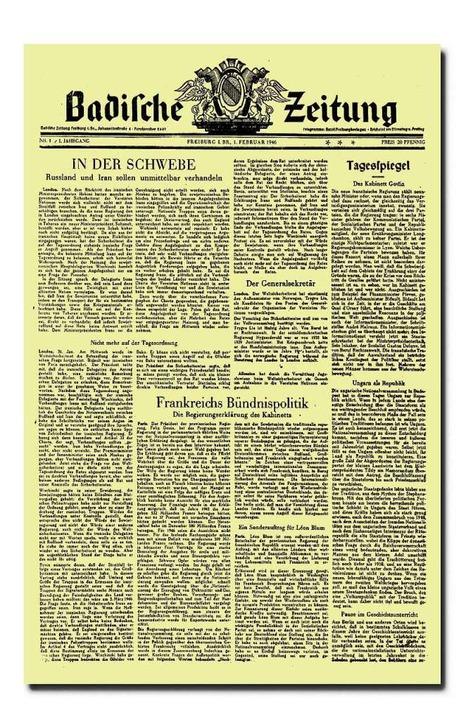 Im Zeichen der Weltpolitik stand die erste Seite der BZ am 1. Februar 1946.    Foto: BZ