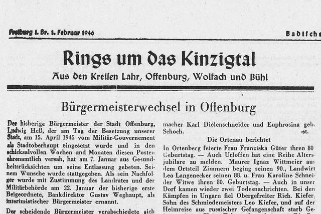 Die Badische Zeitung war nach dem Zweiten Weltkrieg die erste Tageszeitung in Lahr