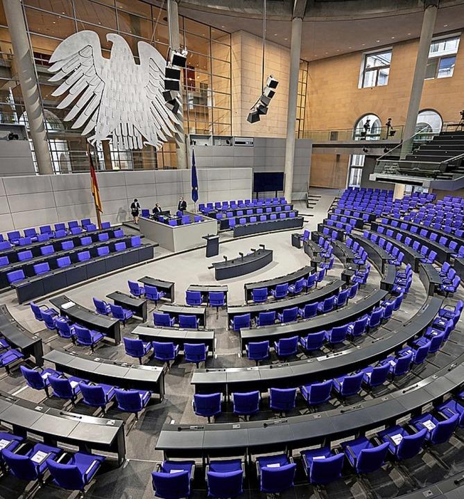 Leerer Bundestag vor der Aktuellen Stunde zum AVV am 29. Januar    Foto: Fabian Sommer (dpa)