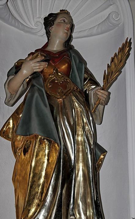 Die Statue der heiligen Agatha in  St. Märgen.     Foto: Erich Krieger