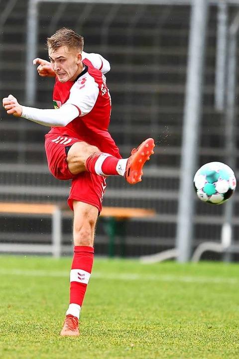 Erster Auftritt im Freiburger Dress: Angreifer Johannes Manske  | Foto: Achim Keller