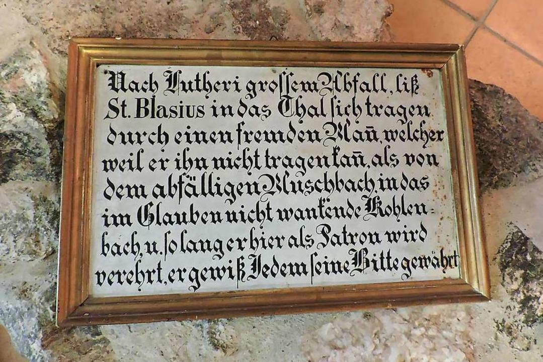 Die Schrifttafel verweist auf an den W...Freiamt ins katholische Kohlenbachtal.    Foto: Sylvia Sredniawa