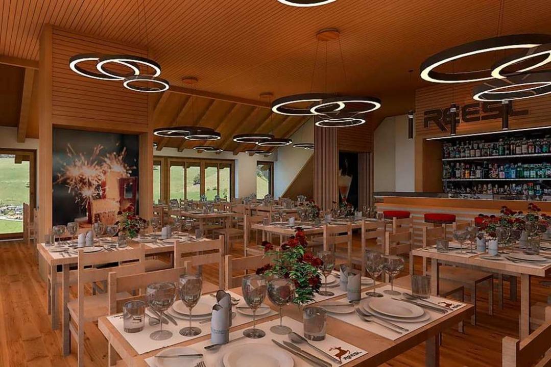 So soll es im Innern des Gastronomiebetriebs aussehen.    Foto: Holzbau Bruno Kaiser GmbH