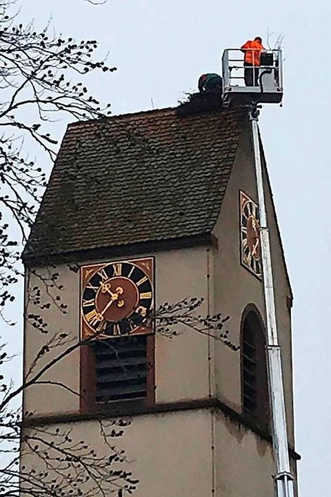 Auf der Lutherkirche wurde am Dienstag...rovisorisches Storchennest aufgesetzt.  | Foto: Jutta Schütz