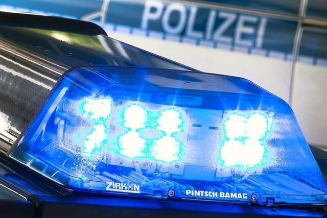 Ein Auto prallt bei der Autobahnraststätte Bad Bellingen gegen eine Laterne