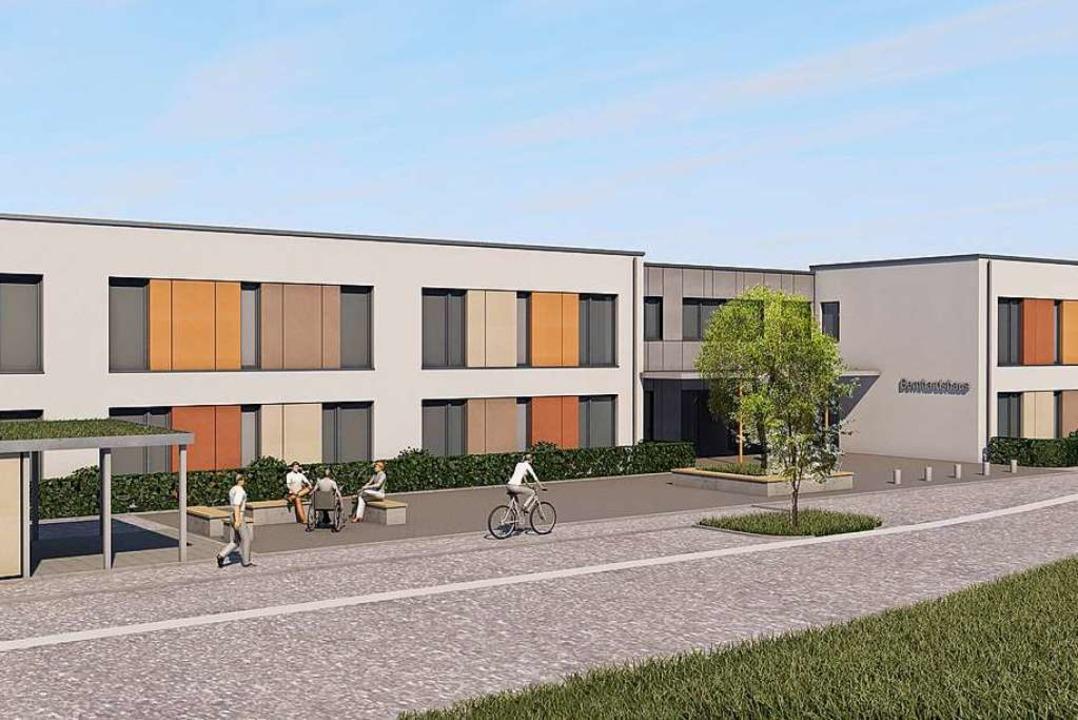 So soll das neue Bernhardshaus später einmal aussehen.<BU_Online></BU_Online>  | Foto: Werner Miller     Georg Glos