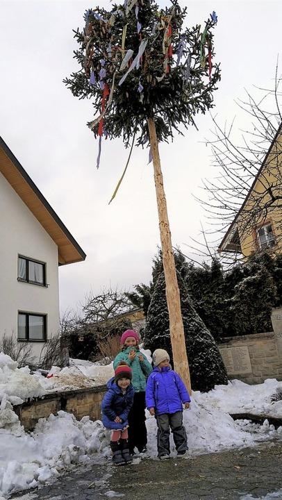Vom Christbaum zum Narrenbaum:  Nicht ...ich über diesen  Anblick in Unadingen.    Foto: Christa Maier