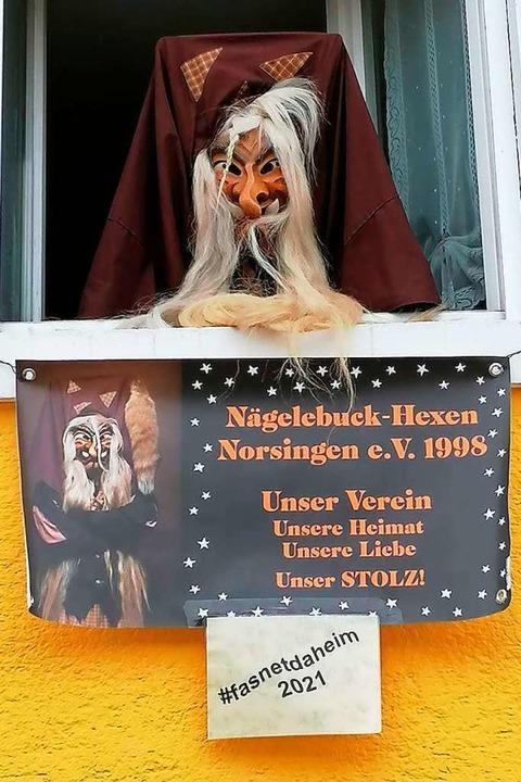Die Nägelebuck-Hexen aus Norsingen grüßen in diesem Jahr mit Plakaten im Ort.  | Foto: Nägelebuck-Hexen
