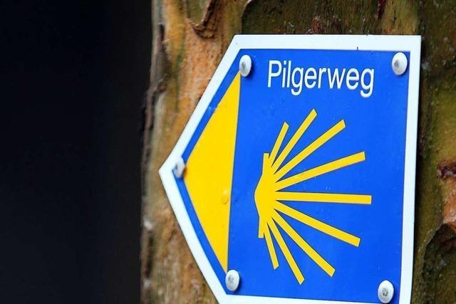 Neue Tafel für Pilger am Jakobusweg in Oberrimsingen