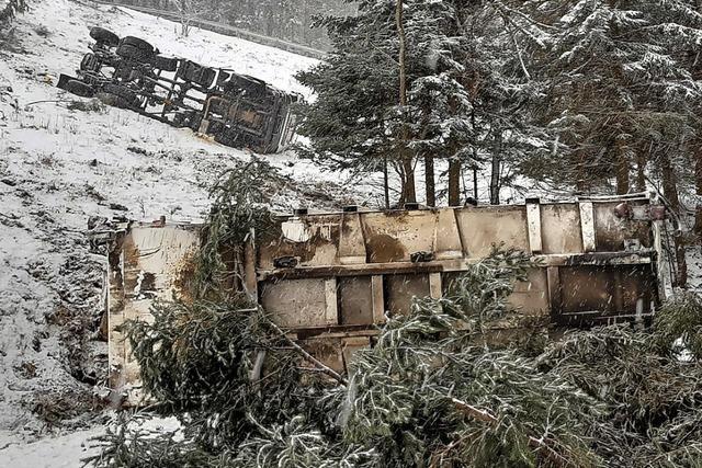 Müllauto stürzt in Münstertal einen Abhang hinunter