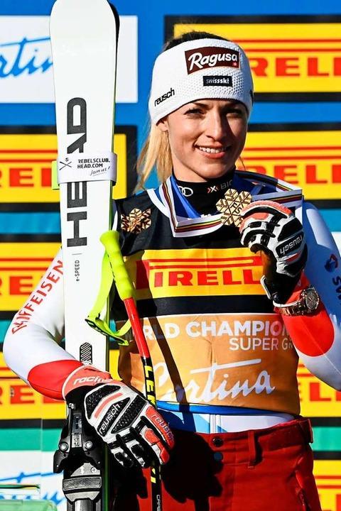 Lara Gut-Behrami aus der Schweiz gewann Gold im Super-G der Frauen.  | Foto: ANDREAS SOLARO (AFP)