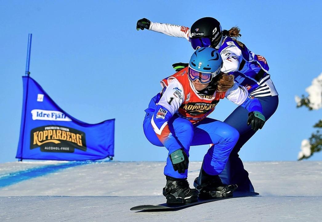 Auf Gold-Kurs: Snowboardcross-Weltmeis...Finallauf im schwedischen Idre Fjäll.   | Foto: ANDERS WIKLUND (AFP)
