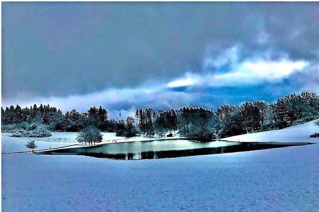 Der Eichener See mit Neuschnee bedeckt im ersten Morgenlicht