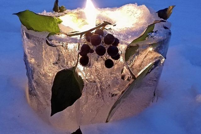 Eisiger Kerzenständer in Friesenheim