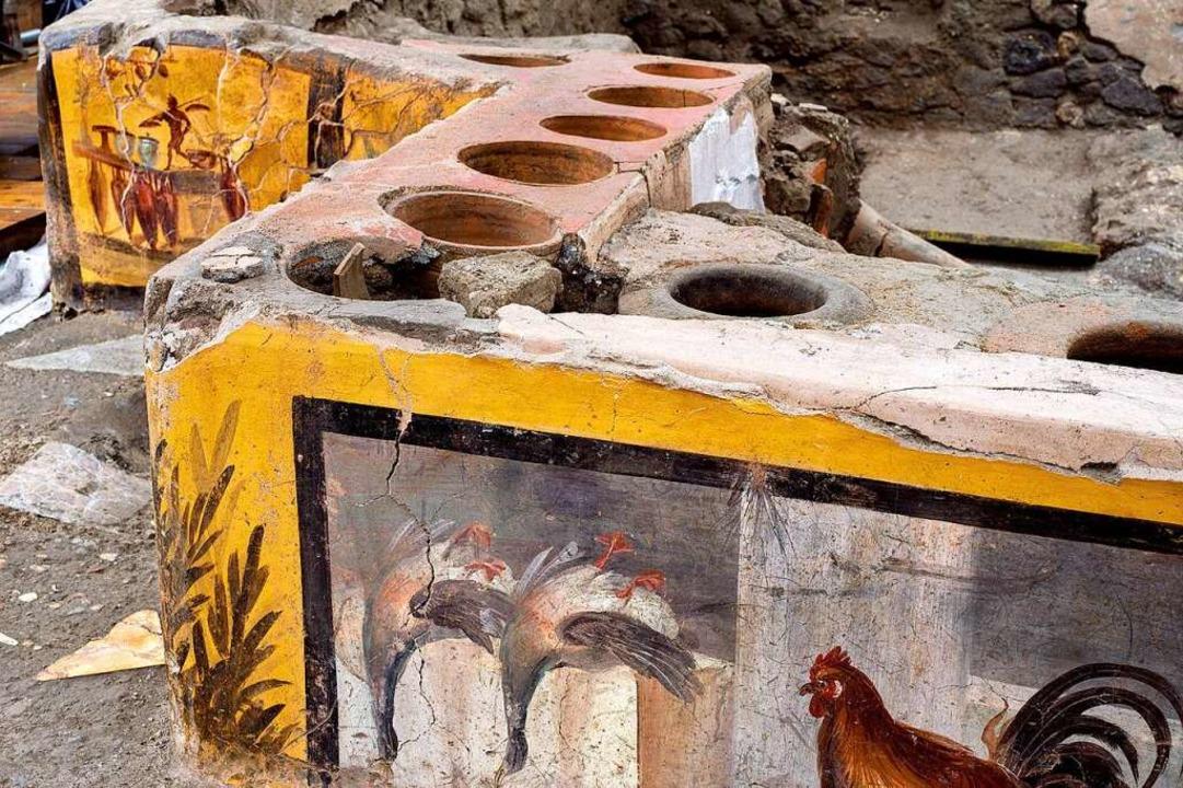 Termopolio war im alten Rom eine Art S...n Exemplares ist Geflügel zu erkennen.  | Foto: Luigi Spina (dpa)