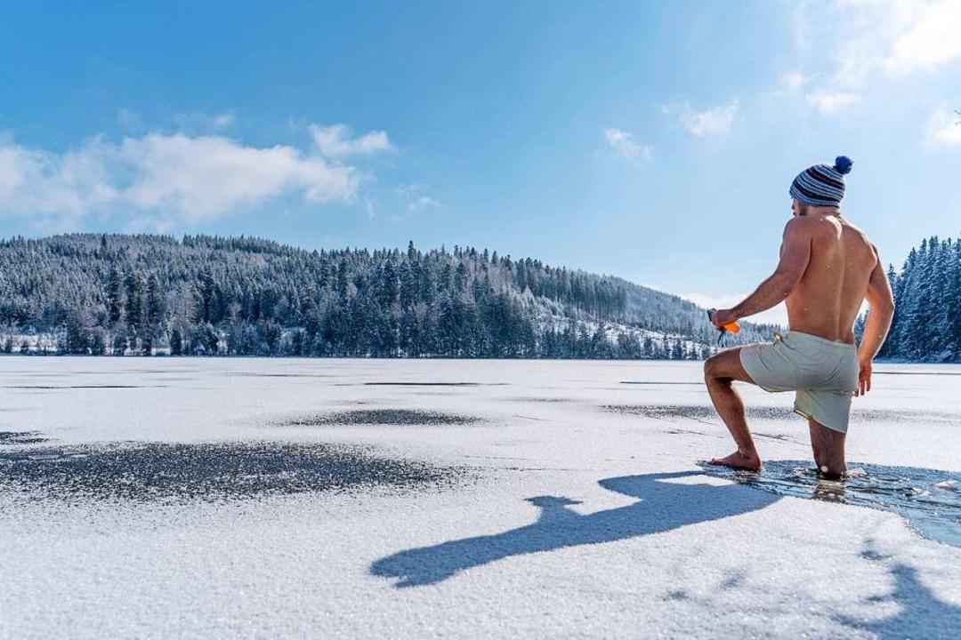 Merlin Blumenschein bahnt sich seinen Weg durch das Eis.  | Foto: Merlin Blumenschein
