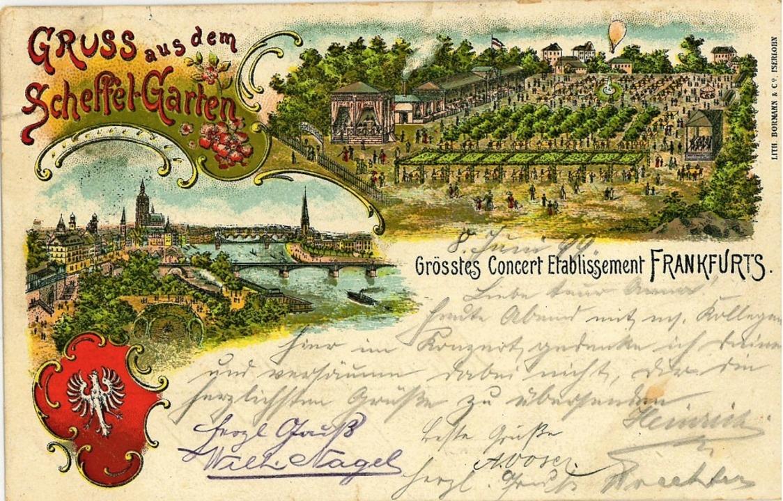 Diese Postkarte zeigt, wie Frankfurts Scheffelgarten gestaltet war.   | Foto: Karl Braun