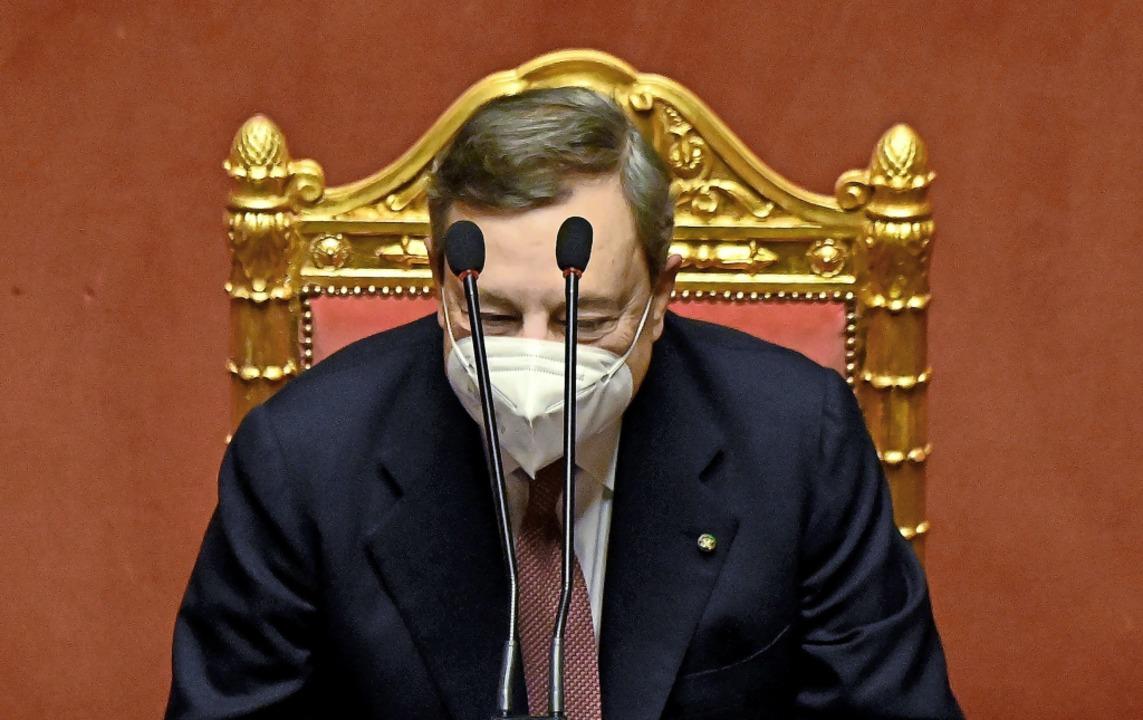 Der neue italienische Regierungschef Mario Draghi am Mittwoch im Senat   | Foto: ALBERTO PIZZOLI (AFP)