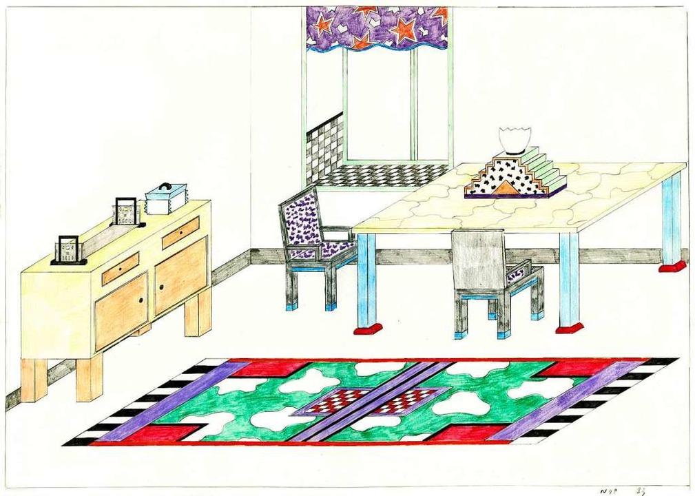 Nathalie du Pasquier, Zeichnung für ein Interieur, 1982  | Foto: Vitra Design Museum