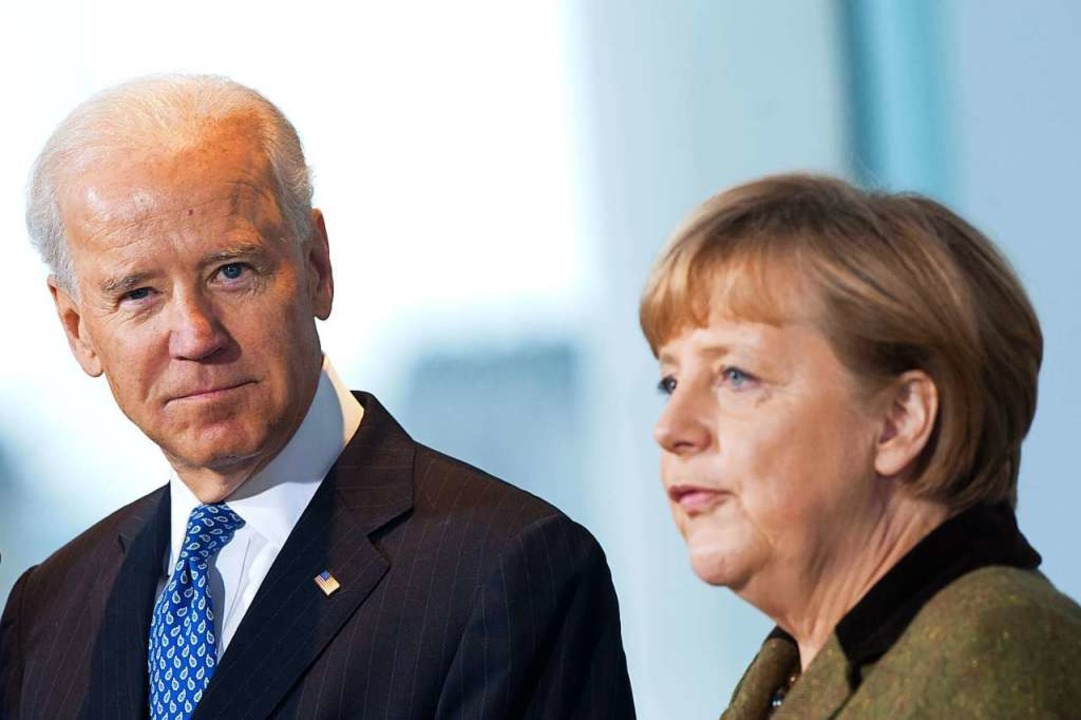 Bundeskanzlerin Angela Merkel  empfäng...n US-Vizepräsidenten Joe Biden. (2013)  | Foto: Maurizio Gambarini (dpa)