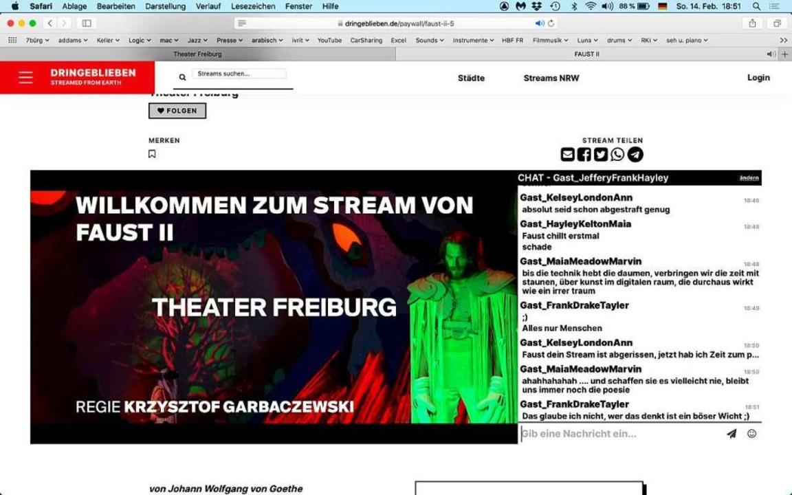 Der Screenshot am Sonntag begleitet die Panne beim Faust II-Streaming    Foto: Screenshot: BZ