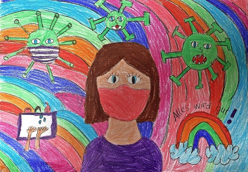 Dieses Corona-Kunstwerk hat Maia Zimmers Klassenkameradin Marie Greinus gemalt.     Foto: privat