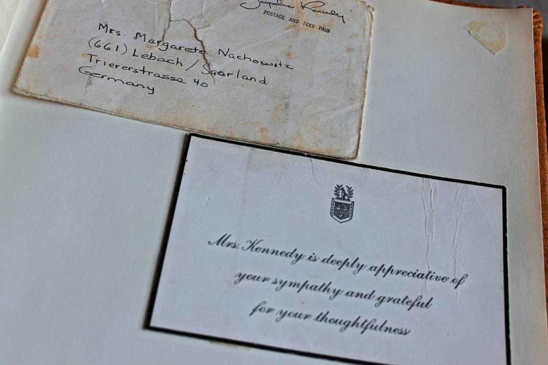 Auch ein Dankschreiben von Jackie Kenn...rete Sohm, damals Margarete Nachowitz.    Foto: Cornelia Liebwein