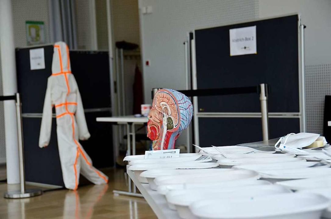 Vorbereitungen für ein Testzentrum in Merzhausen  | Foto: Sophia Hesser